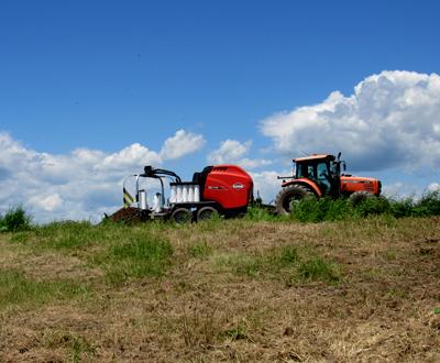 hay baling tractor