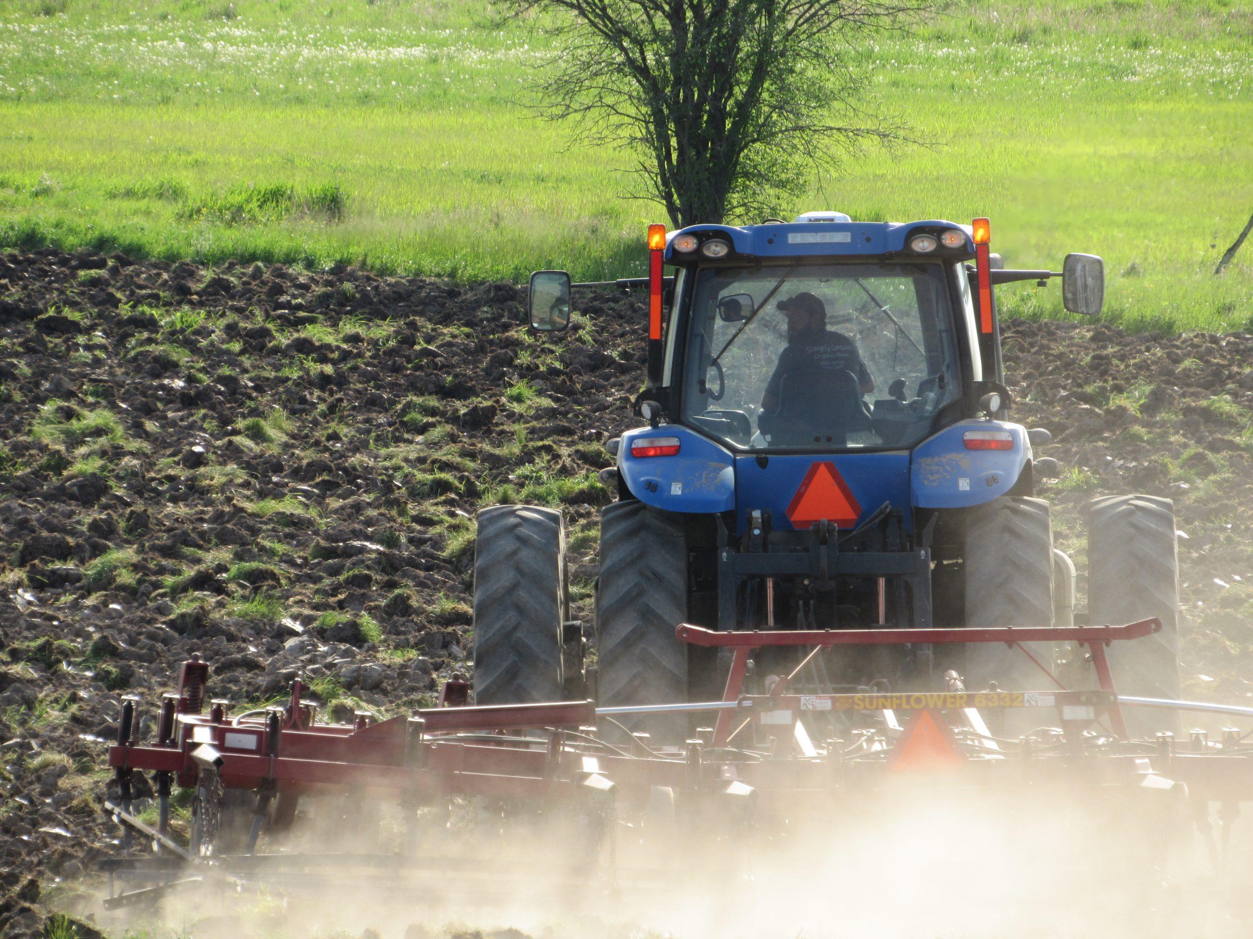 Andrew Aubrey prepping Farm 2 fields