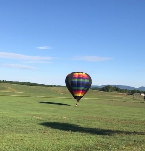 hot air balloon landing in field