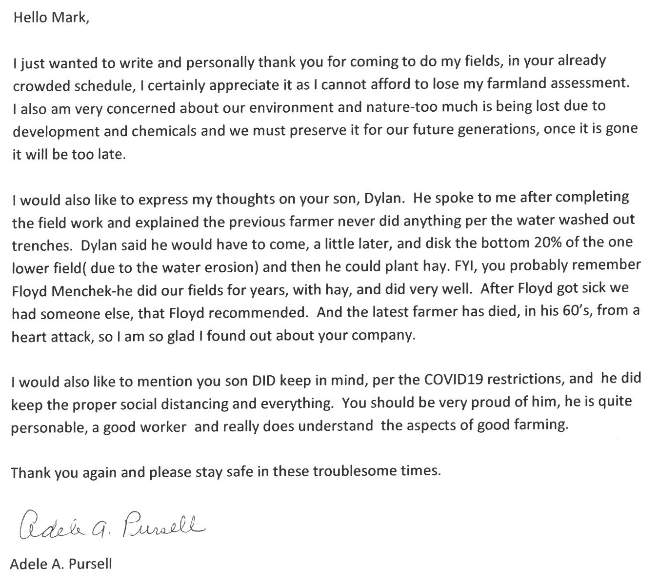 letter sent from Adele Pursell of Hopewell, NJ