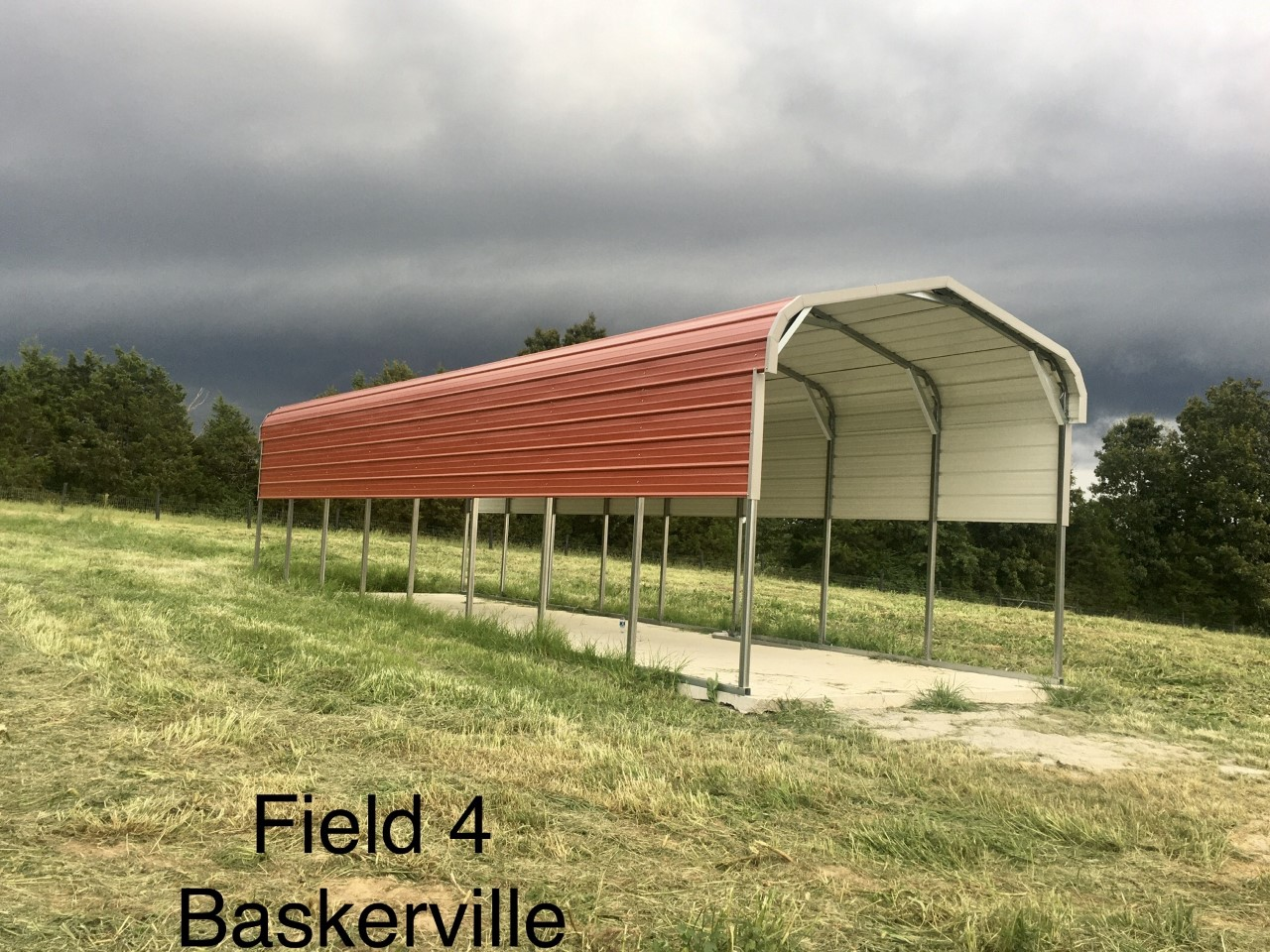 Carport pig shelter installed at Simply Grazin' Baskerville, VA field 4