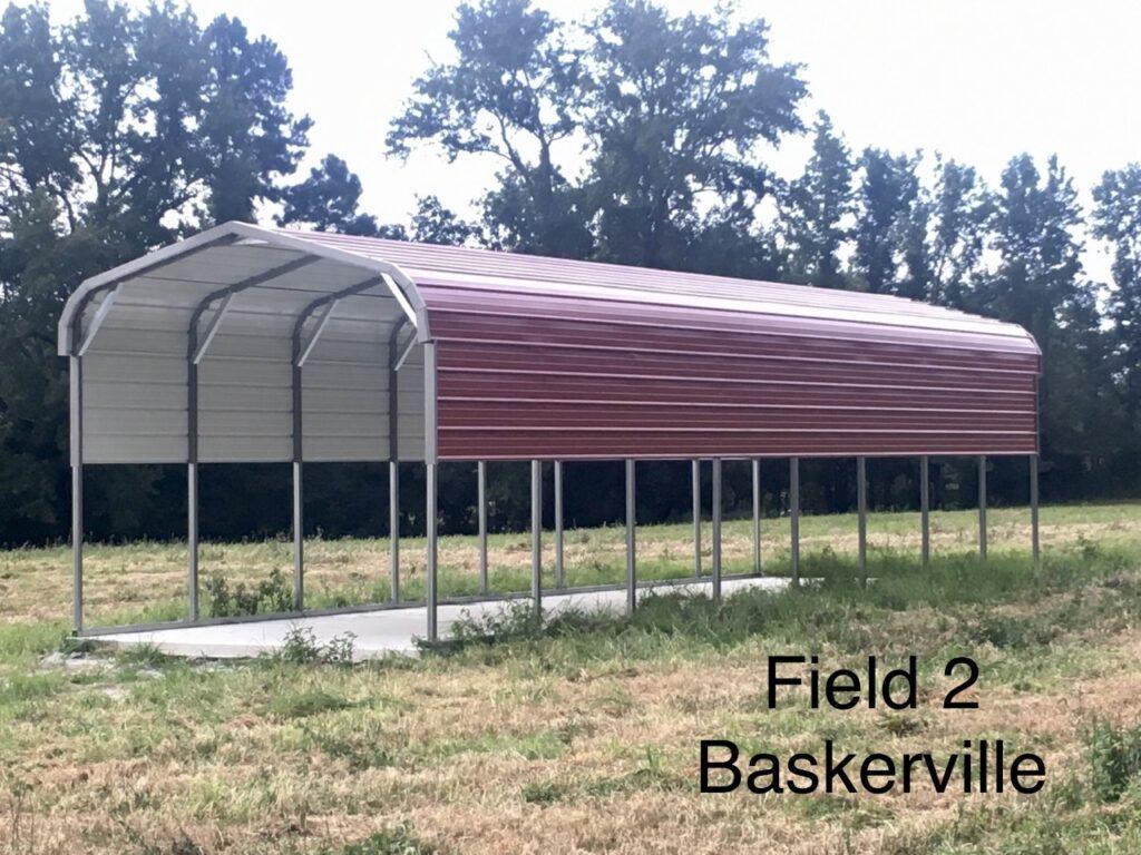 Carport pig shelter installed at Simply Grazin' Baskerville, VA field 2