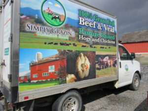 Simply Grazin' decal on Simply Haulin' truck