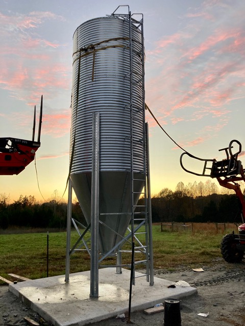 12 ton grain bin to support feeder pigs at Simply Grazin' Baskerville, VA farm
