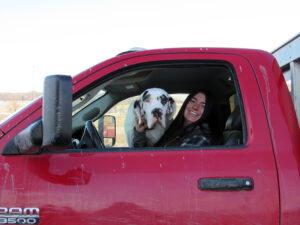 Simply Grazin' farm dog- Moo Louise with her owner Kriss Florence