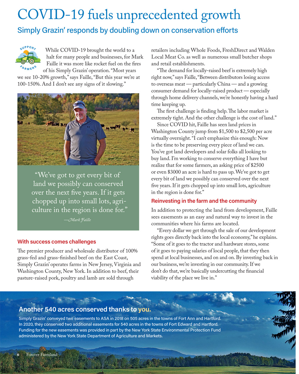 Agricultural Stewardship Association Fall/Winter 2020 newsletter article featuring Mark Faille and Simply Grazin' farms conservation efforts