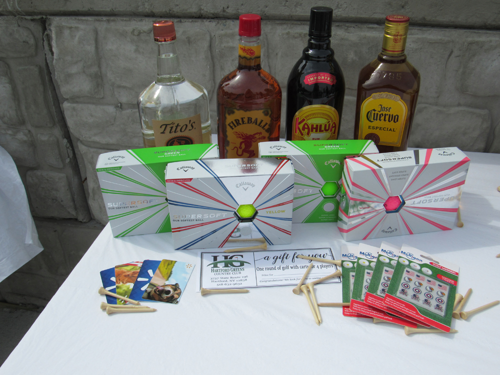 Raffle prizes for the Geraghty Fundraiser Tournament